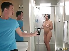 Face pounded from step son shower