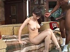Big Tit Asian hottie enjoys the sticky pussy and cum of a black cock