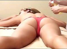 Daughter mom in fishnets does massage with eva