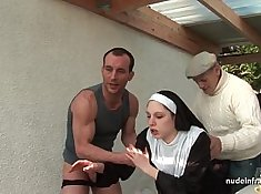 Young french mum in a gangbang threesome