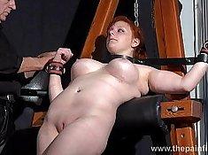 Cfnm amateurs handled in bondage sex dungeon