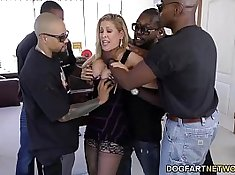 Black cock whipping gangbanged chick