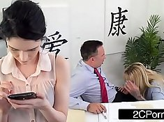 Busty cougar at work gets screwed by her boss