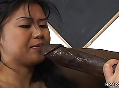 Asian Gets Fucked Outside by Black Cock