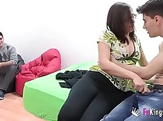 Cuckolding gf pounded by two hung couple