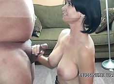 Hairy slut giving good blowjob after cant swallow it