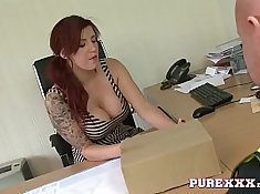 Vid with hot redhead giving plumber blowjob in the office Edit