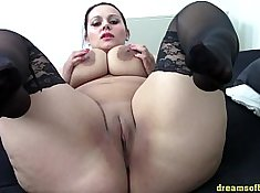 Candid Fat Chick Black Foxtail in Stockings