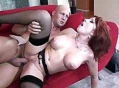 Busty redhead fucked on see through veiny nylon