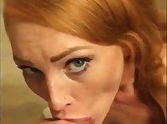 Amazing redhead gives her boyfriend a sloppy blowjob