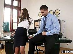 Brunette fucks a hot Senior at campus office
