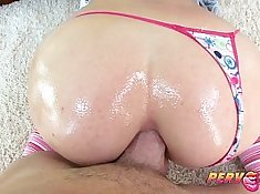 Alluring brunette with hot body shakes her rounded ass