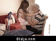 Teen rides a massive hard cock while old grandpa gets cumshot